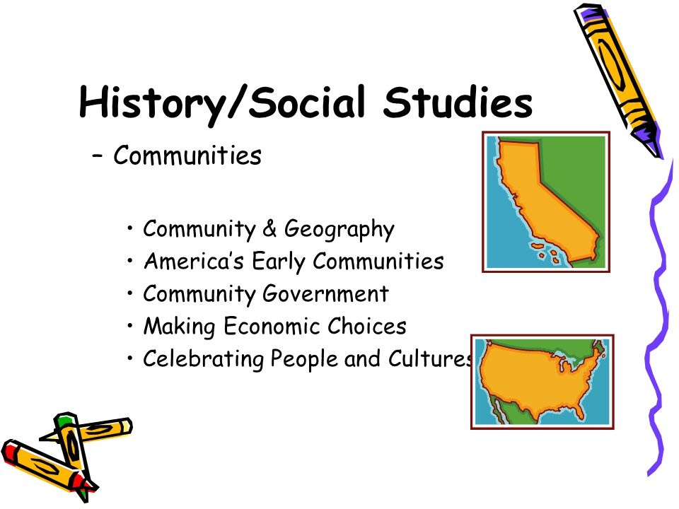 History/Social Studies –Communities Community & Geography America's Early Communities Community Government Making Economic Choices Celebrating People and Cultures