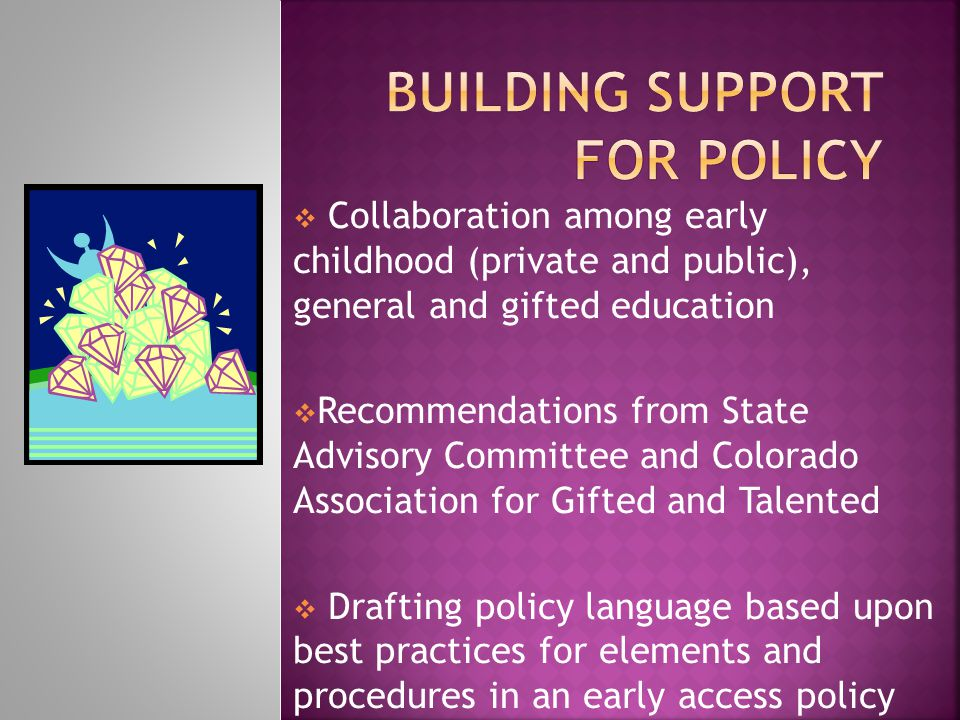  Collaboration among early childhood (private and public), general and gifted education  Recommendations from State Advisory Committee and Colorado Association for Gifted and Talented  Drafting policy language based upon best practices for elements and procedures in an early access policy
