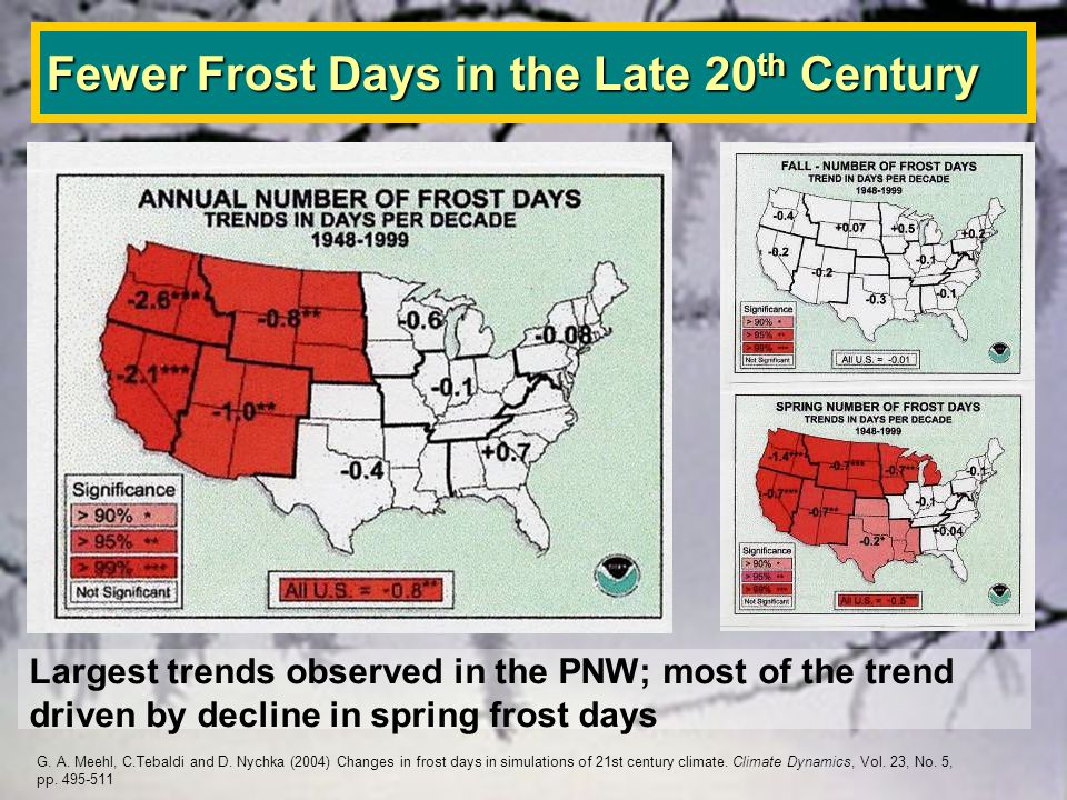 Fewer Frost Days in the Late 20 th Century Largest trends observed in the PNW; most of the trend driven by decline in spring frost days G.