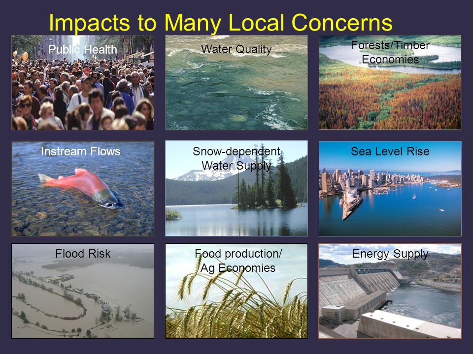 Impacts to Many Local Concerns Snow-dependent Water Supply Sea Level Rise Food production/ Ag Economies Forests/Timber Economies Flood Risk Instream Flows Energy Supply Water Quality Public Health