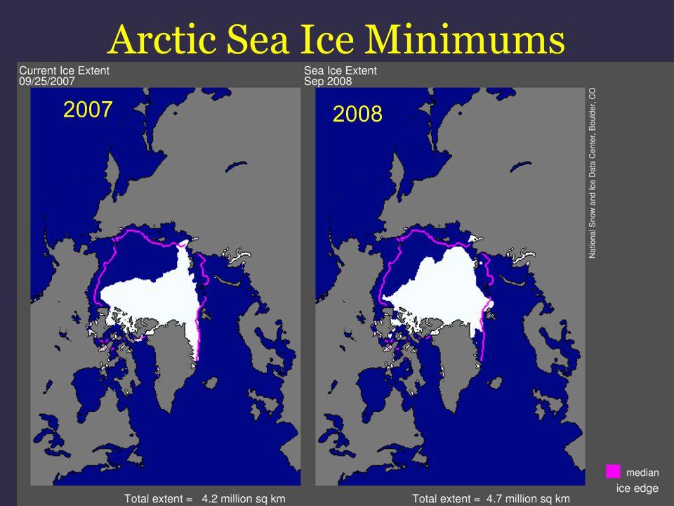 Arctic Sea Ice Minimums 2007 2008