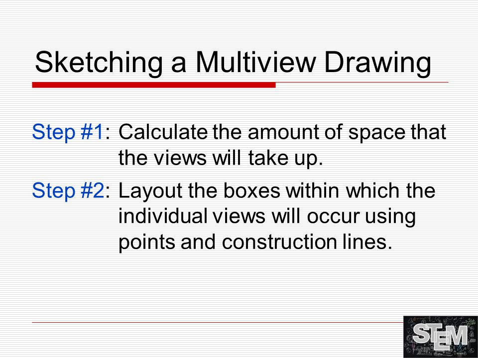 Sketching a Multiview Drawing Step #1:Calculate the amount of space that the views will take up. Step #2:Layout the boxes within which the individual