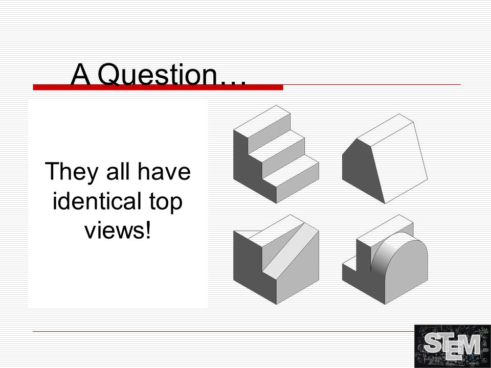 A Question… Each of the blocks at right has the same overall dimensions and color. What else do they have in common? They all have identical top views