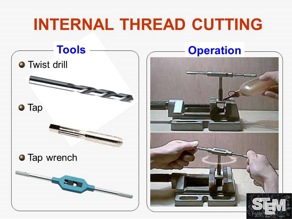 Twist drill Tools Tap Tap wrench Operation INTERNAL THREAD CUTTING