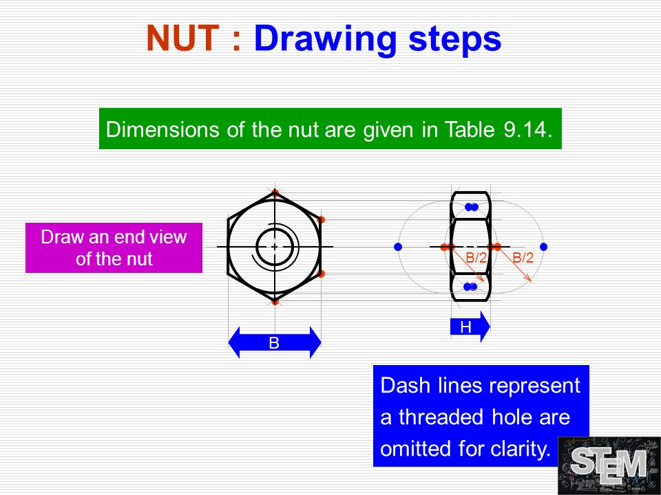 NUT : Drawing steps Draw an end view of the nut B H B/2 Dimensions of the nut are given in Table 9.14. Dash lines represent a threaded hole are omitte