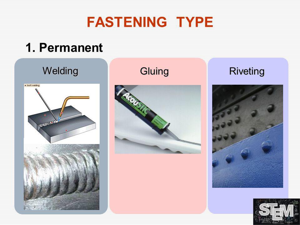 FASTENING TYPE 1. Permanent Welding GluingRiveting