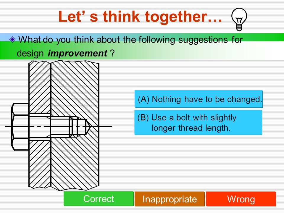 Let' s think together… What do you think about the following suggestions for design improvement ? (A) Nothing have to be changed. (B) Use a bolt with