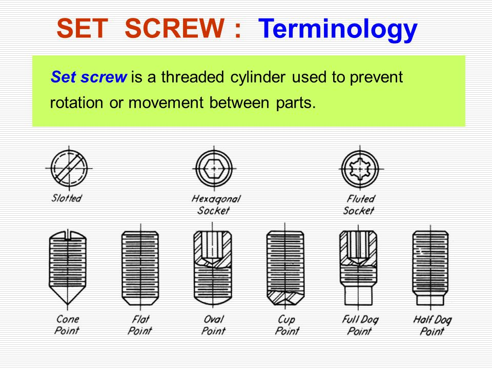 SET SCREW : Terminology Set screw is a threaded cylinder used to prevent rotation or movement between parts.