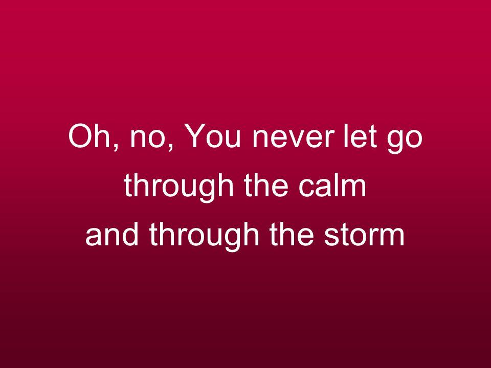 Oh, no, You never let go through the calm and through the storm