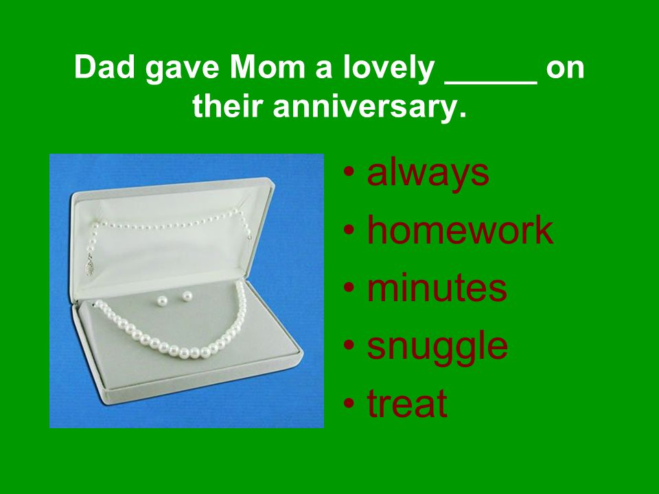 always homework minutes snuggle treat Dad gave Mom a lovely _____ on their anniversary.