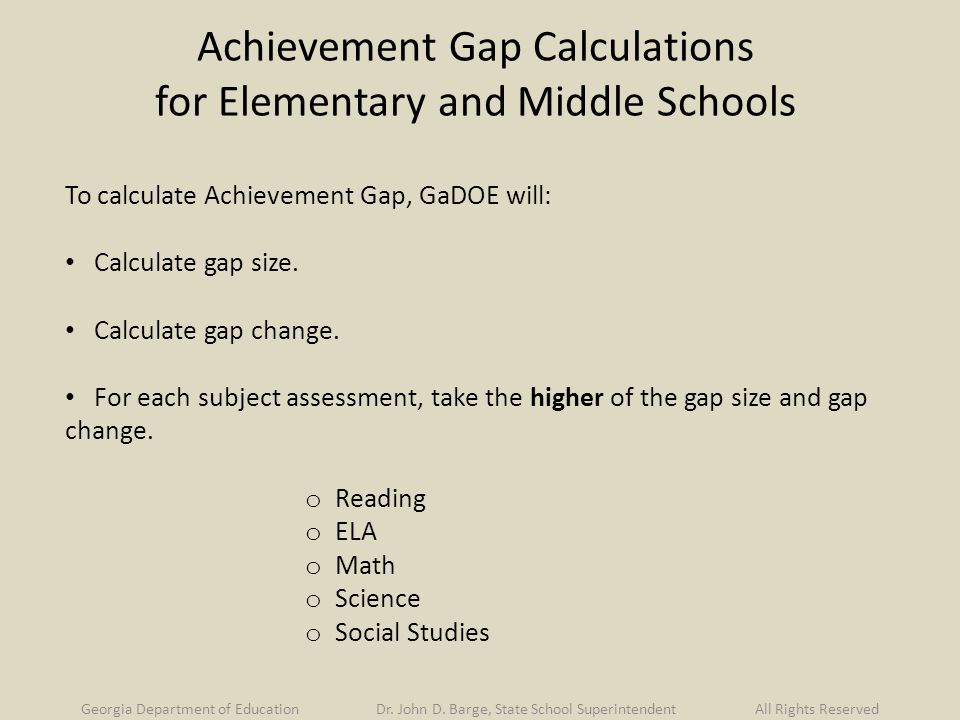 Achievement Gap Calculations for Elementary and Middle Schools To calculate Achievement Gap, GaDOE will: Calculate gap size.