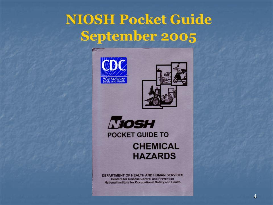 4 NIOSH Pocket Guide September 2005