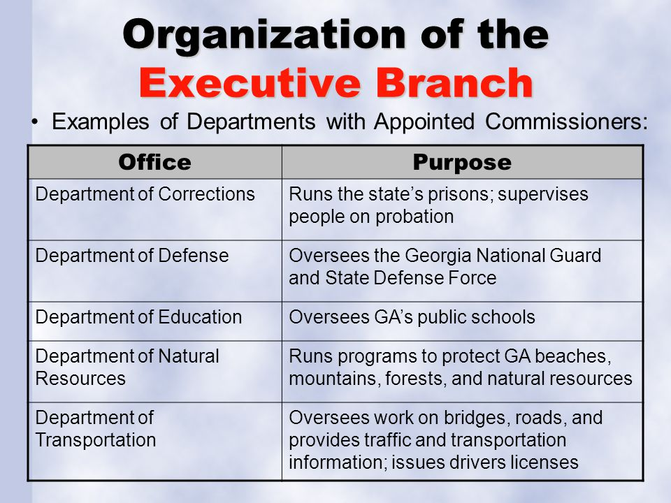 Organization of the Executive Branch Examples of Departments with Appointed Commissioners: OfficePurpose Department of CorrectionsRuns the state's pri