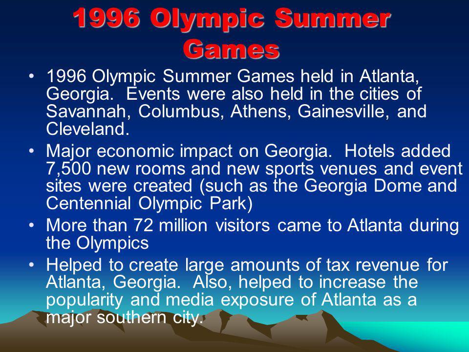 1996 Olympic Summer Games 1996 Olympic Summer Games held in Atlanta, Georgia.