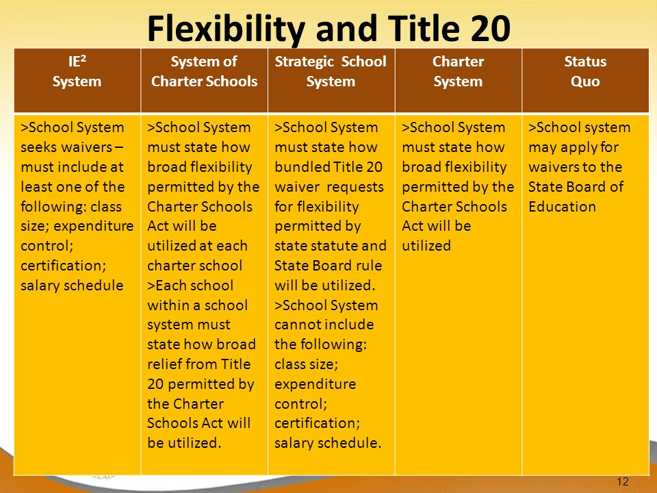 12 IE 2 System System of Charter Schools Strategic School System Charter System Status Quo >School System seeks waivers – must include at least one of the following: class size; expenditure control; certification; salary schedule >School System must state how broad flexibility permitted by the Charter Schools Act will be utilized at each charter school >Each school within a school system must state how broad relief from Title 20 permitted by the Charter Schools Act will be utilized.
