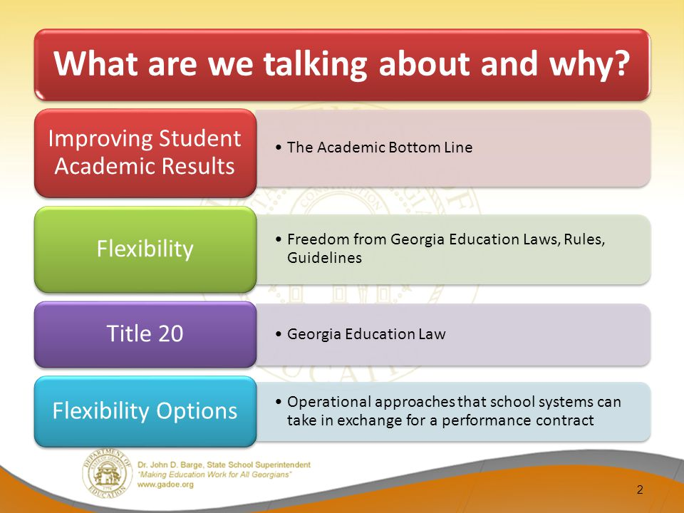 13 IE 2 System System of Charter Schools Strategic School System Charter System Status Quo >Flexibility proportionate to student performance goals >School System Strategic Plan is required >School System must conduct a public hearing to share Strategic Plan >Approved by the Local School Board at a public meeting.