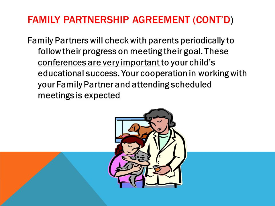 FAMILY PARTNERSHIP AGREEMENT (CONT'D) Family Partners will check with parents periodically to follow their progress on meeting their goal.