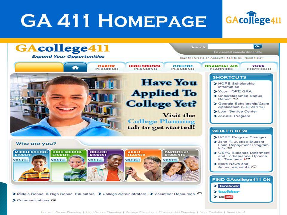 GA 411 Homepage