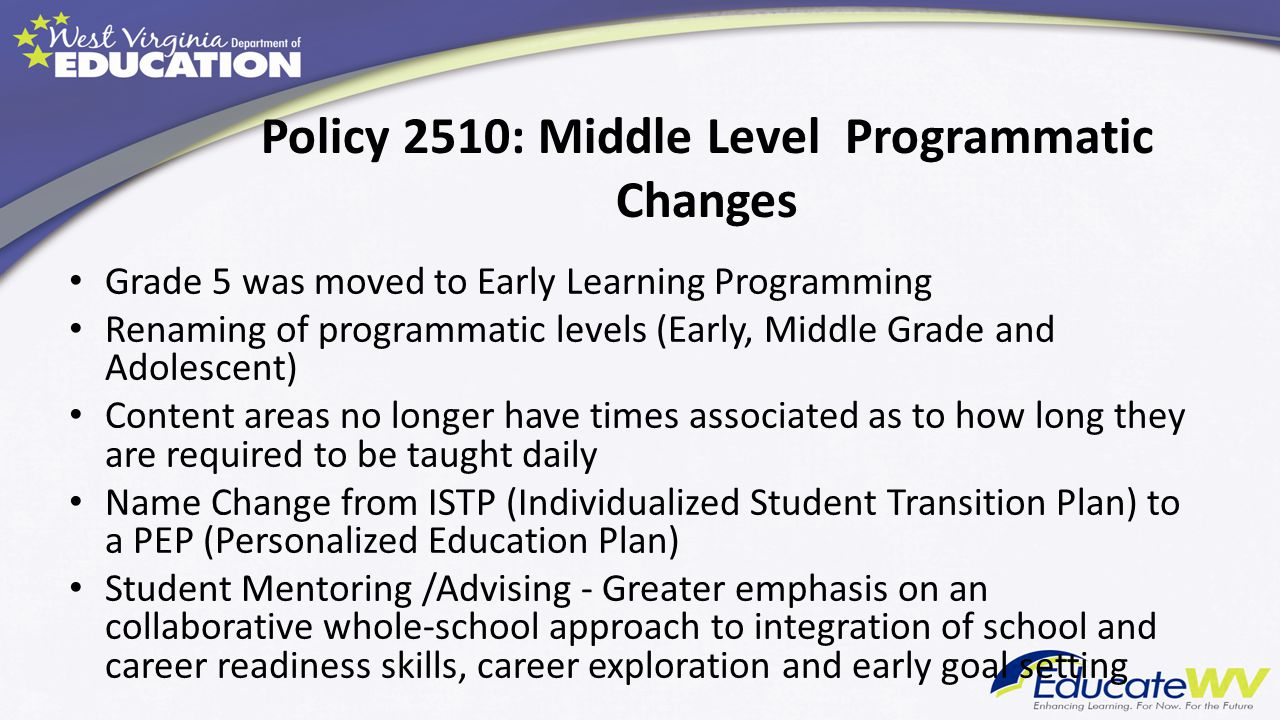 Policy 2510: Middle Level Programmatic Changes Grade 5 was moved to Early Learning Programming Renaming of programmatic levels (Early, Middle Grade an
