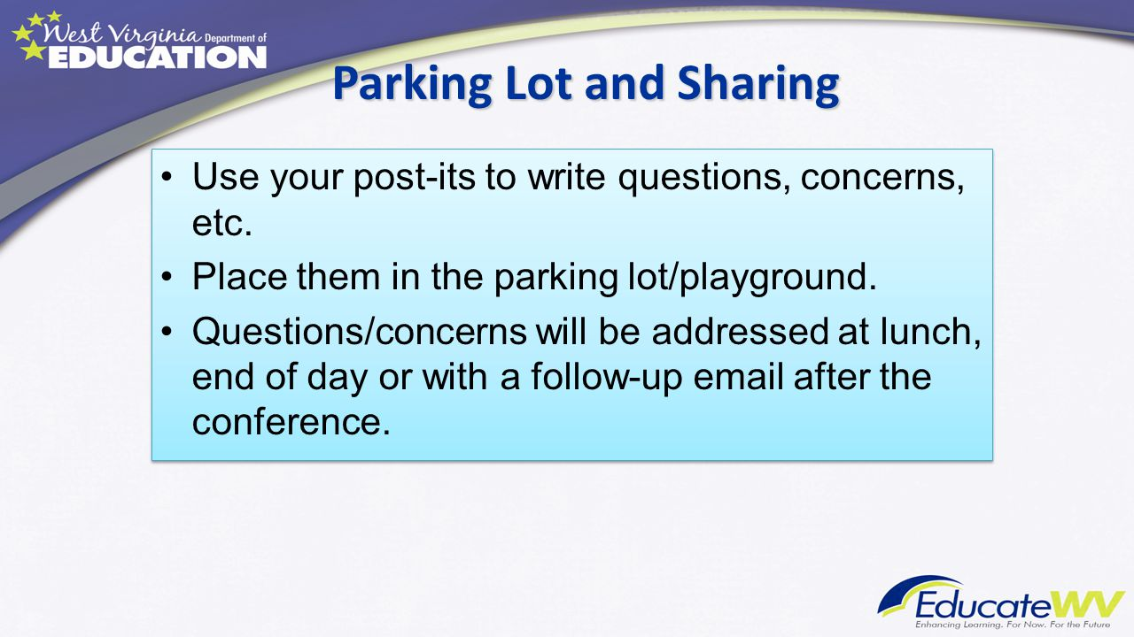 Parking Lot and Sharing Use your post-its to write questions, concerns, etc. Place them in the parking lot/playground. Questions/concerns will be addr