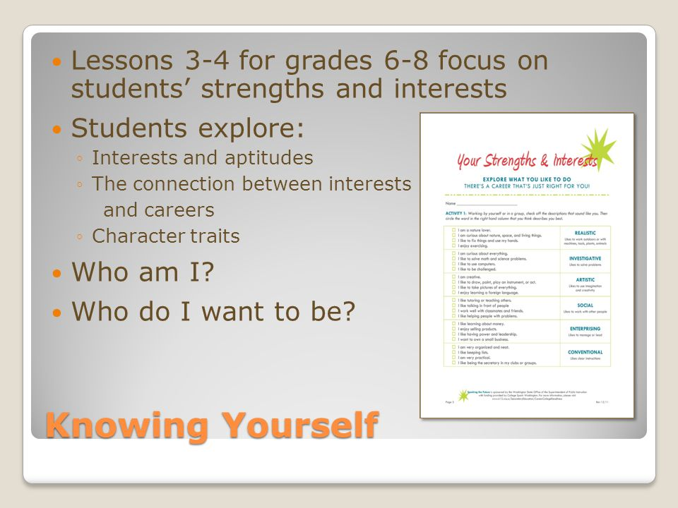 Knowing Yourself Lessons 3-4 for grades 6-8 focus on students' strengths and interests Students explore: ◦Interests and aptitudes ◦The connection between interests and careers ◦Character traits Who am I.