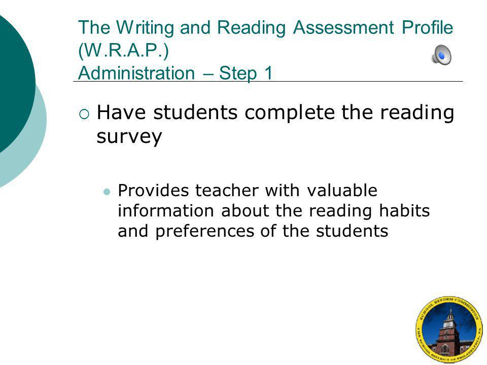 The Writing and Reading Assessment Profile (W.R.A.P.)  DO NOT stop teaching for weeks to give individually administered tests to all students just before report cards.