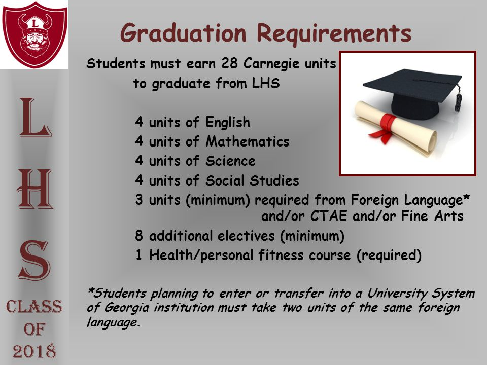 Graduation Requirements Students must earn 28 Carnegie units to graduate from LHS 4 units of English 4 units of Mathematics 4 units of Science 4 units