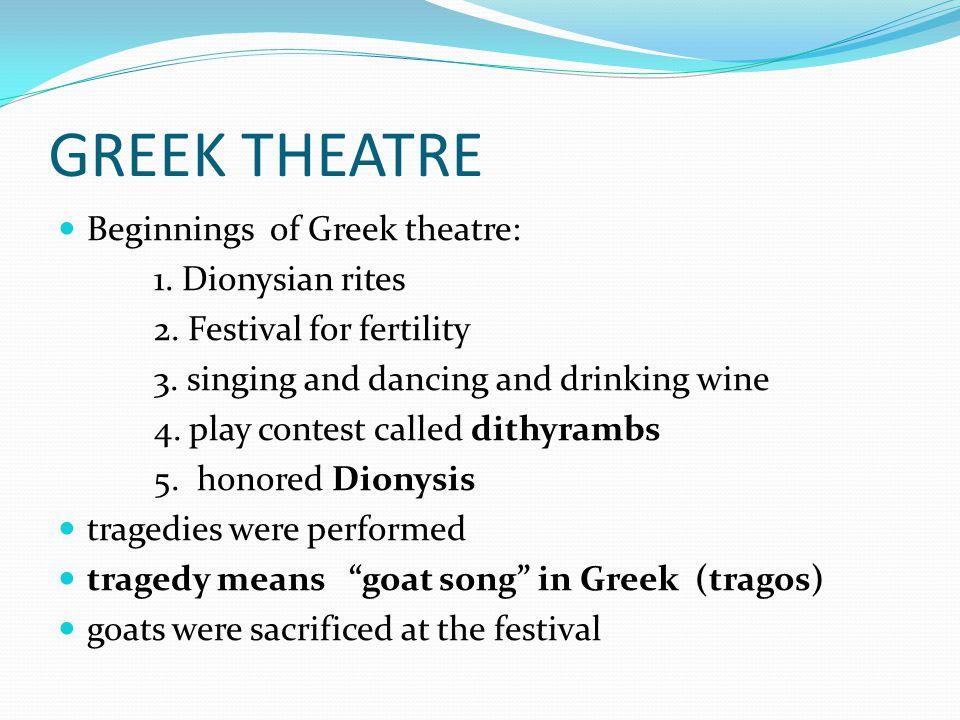 GREEK THEATRE Beginnings of Greek theatre: 1. Dionysian rites 2.