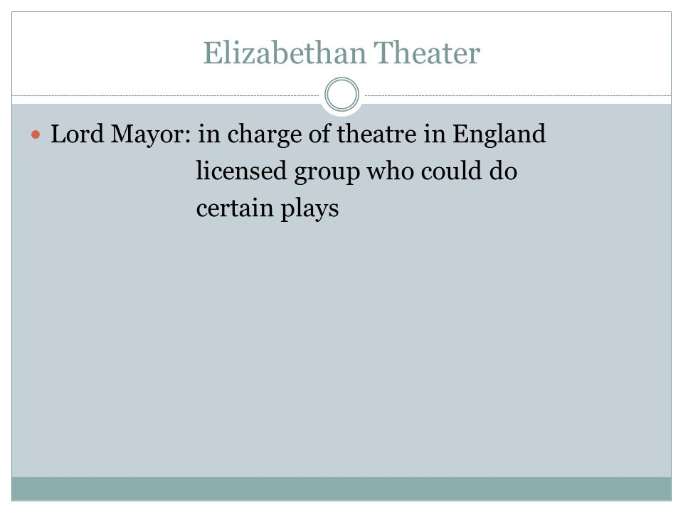 Elizabethan Theater Lord Mayor: in charge of theatre in England licensed group who could do certain plays