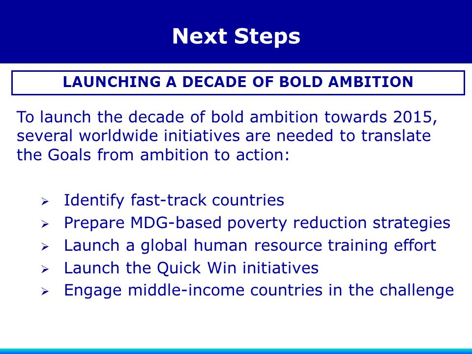 Next Steps LAUNCHING A DECADE OF BOLD AMBITION To launch the decade of bold ambition towards 2015, several worldwide initiatives are needed to transla