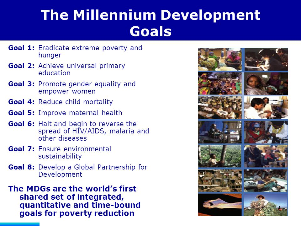Another Perspective on the Goals Developing Country Responsibility  To eradicate extreme poverty and hunger  To achieve universal primary education  To promote gender equality and empower women  To reduce child mortality  To improve maternal health  To combat HIV/AIDS, malaria, and other diseases  To ensure environmental sustainability Developed Country and Development Assistance Agency Responsibility  To establish a global partnership for development