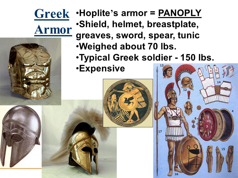 Greek Armor Hoplite ' s armor = PANOPLY Shield, helmet, breastplate, greaves, sword, spear, tunic Weighed about 70 lbs.