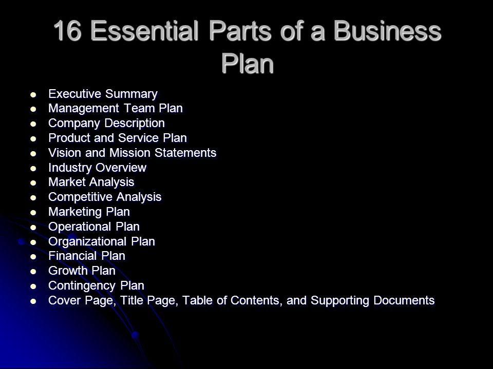 The Parts Of A Business Plan Company 9 Essential