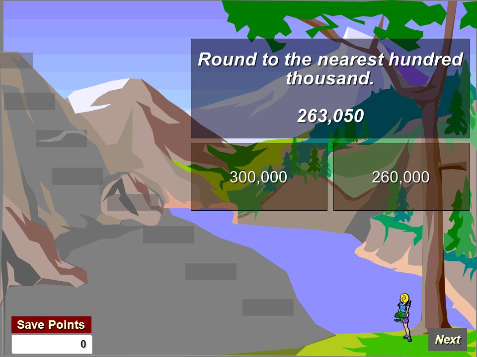 Save Points Save Points Next 0 Round to the nearest hundred thousand. 263,050 300,000 260,000