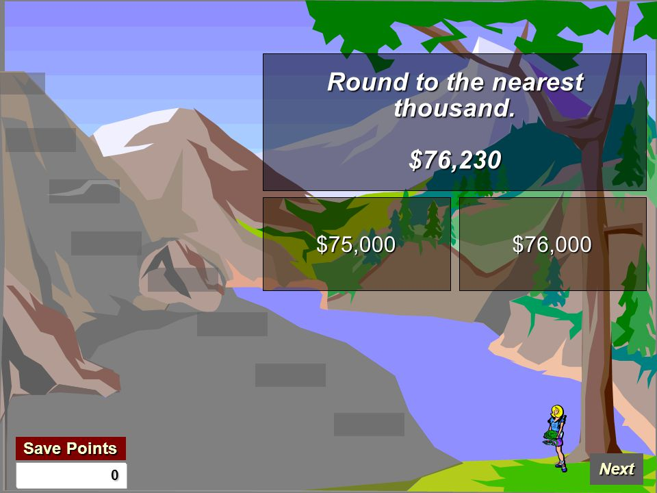 Save Points Save Points Next 0 Round to the nearest thousand. $76,230 $75,000 $76,000