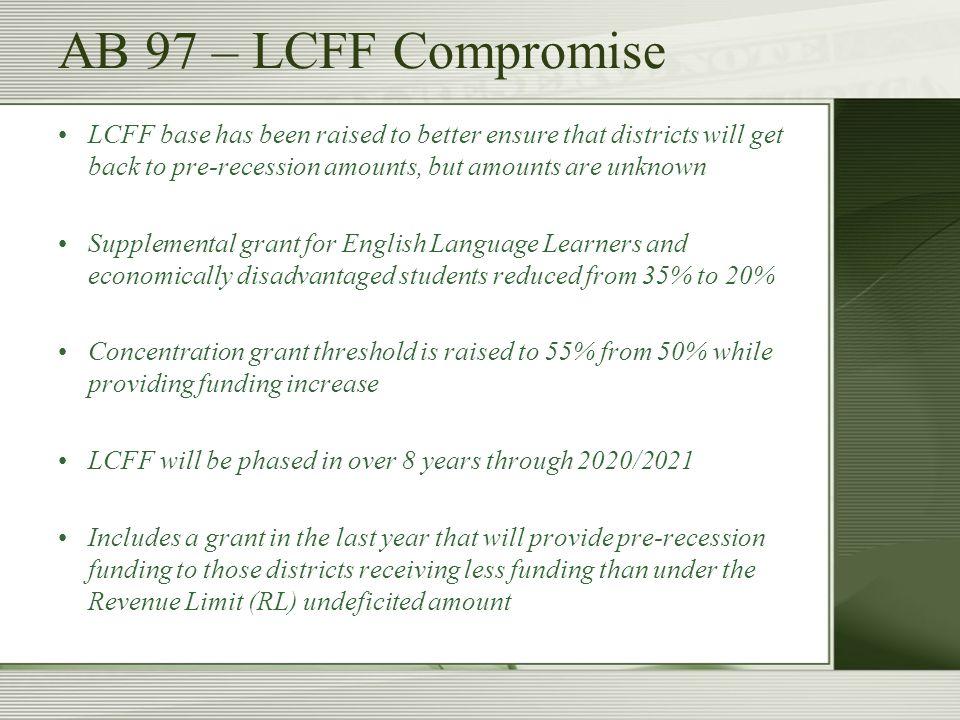 May Revise LCFF Formula FactorsK-34-67-89-12 Base Grant per ADA $6,845$6,6947$7,154$8,289 Base funding allocations are established by grade span.