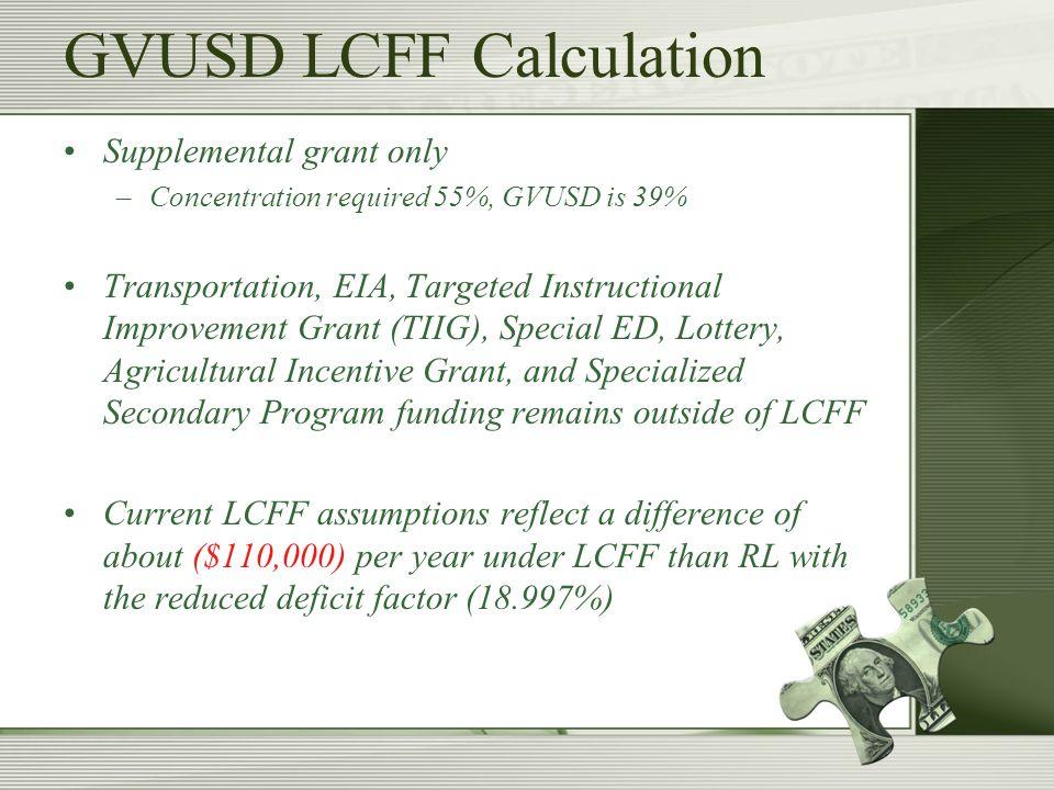 Current Assumptions GVUSD 2013/2014 Budget