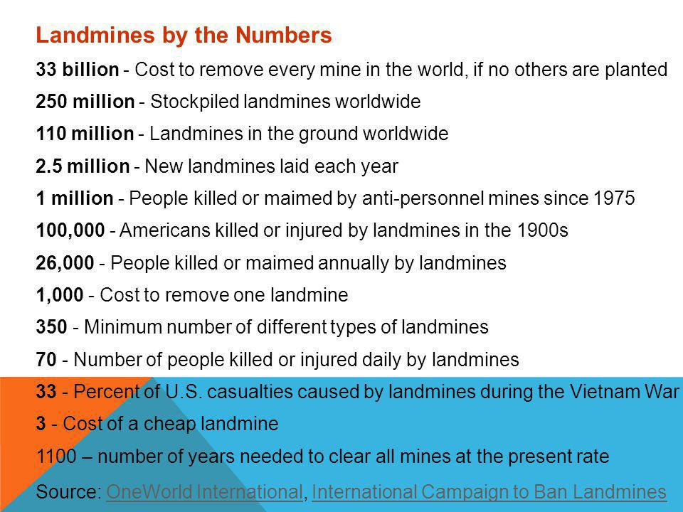 Landmines by the Numbers 33 billion - Cost to remove every mine in the world, if no others are planted 250 million - Stockpiled landmines worldwide 110 million - Landmines in the ground worldwide 2.5 million - New landmines laid each year 1 million - People killed or maimed by anti-personnel mines since 1975 100,000 - Americans killed or injured by landmines in the 1900s 26,000 - People killed or maimed annually by landmines 1,000 - Cost to remove one landmine 350 - Minimum number of different types of landmines 70 - Number of people killed or injured daily by landmines 33 - Percent of U.S.
