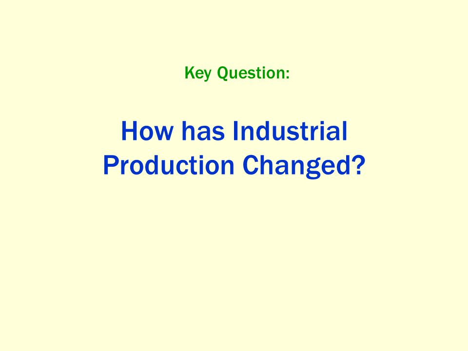 How has Industrial Production Changed? Key Question: