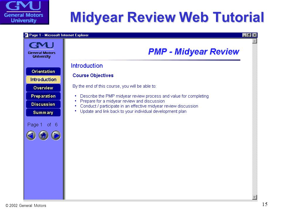 © 2002 General Motors 15 Midyear Review Web Tutorial