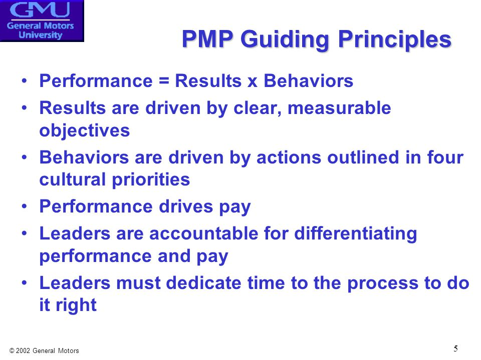 © 2002 General Motors 5 PMP Guiding Principles Performance = Results x Behaviors Results are driven by clear, measurable objectives Behaviors are driven by actions outlined in four cultural priorities Performance drives pay Leaders are accountable for differentiating performance and pay Leaders must dedicate time to the process to do it right
