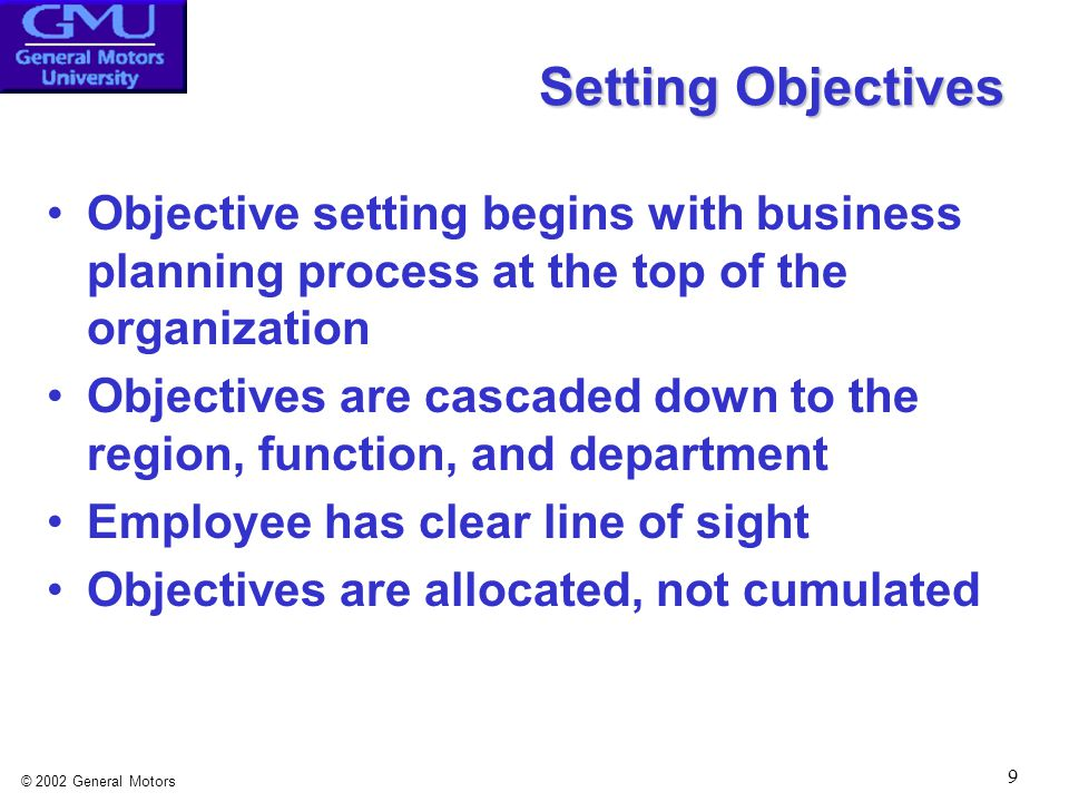 © 2002 General Motors 10 Linking Objectives Allocated Objectives VS.