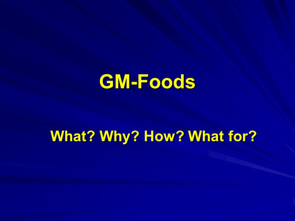GM-Foods What? Why? How? What for?