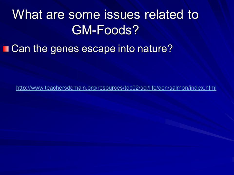 What are some issues related to GM-Foods.Can the genes escape into nature.