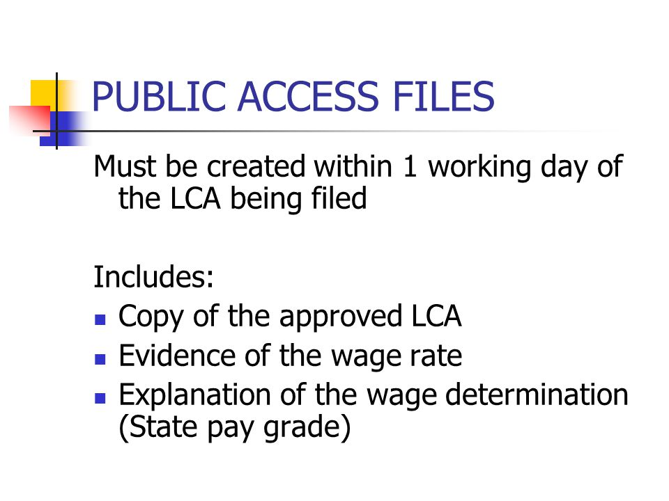 PUBLIC ACCESS FILES Must be created within 1 working day of the LCA being filed Includes: Copy of the approved LCA Evidence of the wage rate Explanati