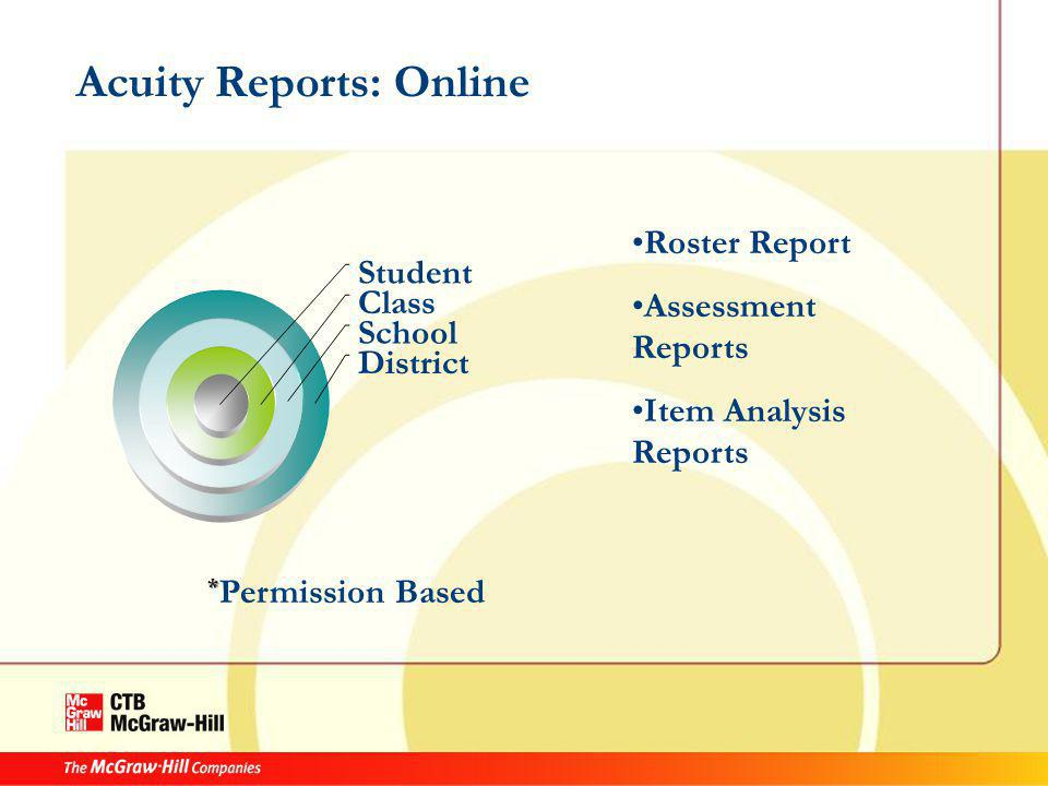 Acuity Reports: Online Student Class School District Roster Report Assessment Reports Item Analysis Reports * Permission Based