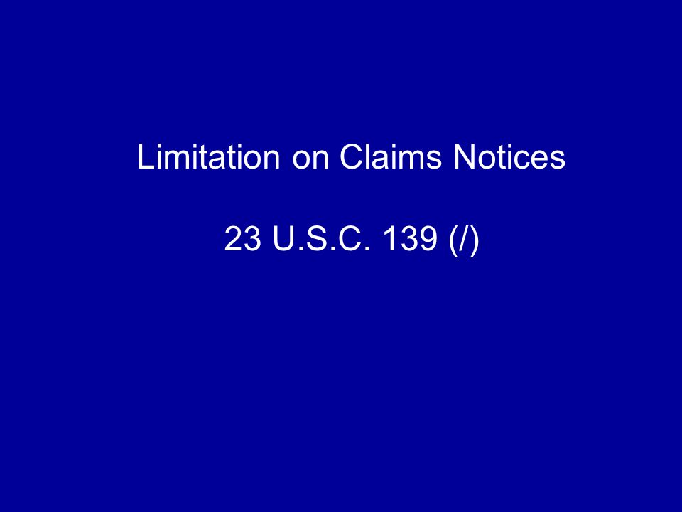 Limitation on Claims Notices 23 U.S.C. 139 (/)