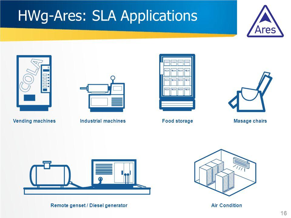 HWg-Ares: SLA Applications Food storageMasage chairs Remote genset / Diesel generator 16 Industrial machinesVending machines Air Condition