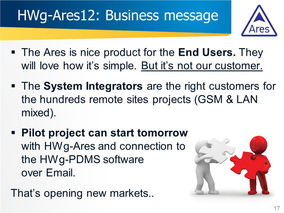  The Ares is nice product for the End Users. They will love how it's simple. But it's not our customer.  The System Integrators are the right custom