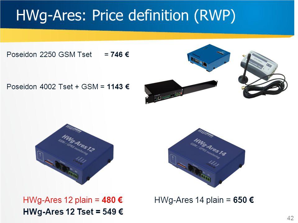 Poseidon 2250 GSM Tset = 746 € Poseidon 4002 Tset + GSM = 1143 € HWg-Ares: Price definition (RWP) HWg-Ares 12 plain = 480 € HWg-Ares 12 Tset = 549 € H